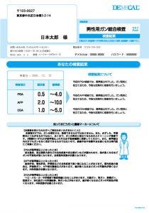 男性用がん総合検査セルフチェック検査結果シート陰性