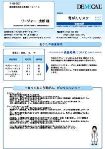胃がんリスクセルフチェック検査結果シート(陰性)