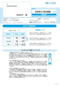 女性用がん総合検査セルフチェック検査結果シート(陰性)